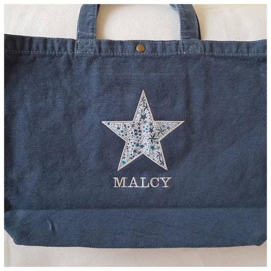 Grand sac bleu motif en...