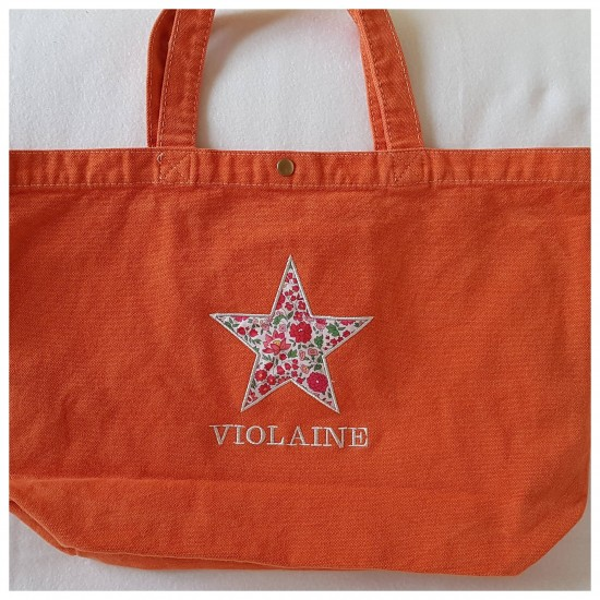 Grand sac orange motif en...